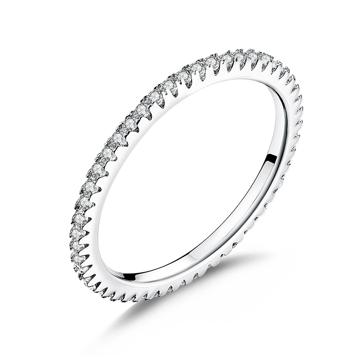 WOSTU 1.5MM Thin Band Eternity Rings Platinum Plated 925 Sterling Silver Cubic Zirconia Engagement Rings