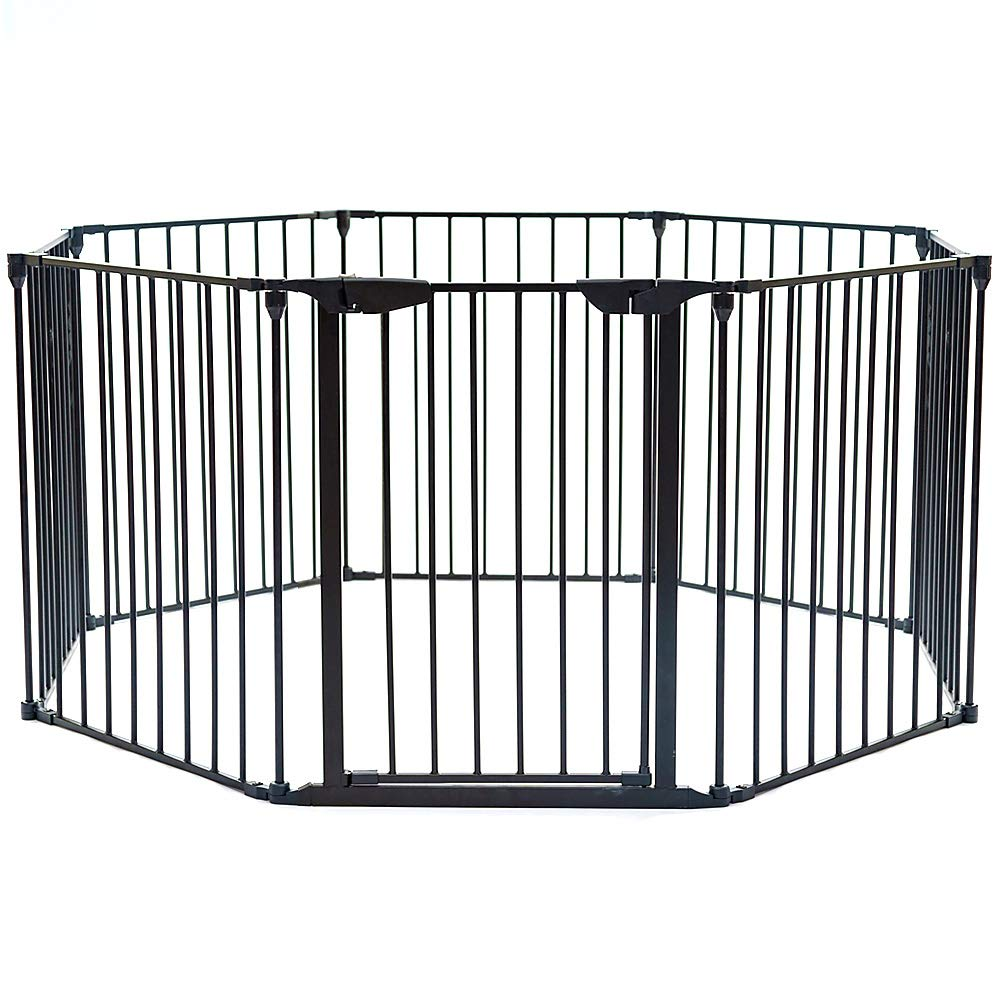 Teekland 204-Inch Super Wide Adjustable Gate and Play Yard,Fireplace Fence/Wide Barrier Gate with Auto Lock Walk-Through Door in Two Directions(Black,8Panels)