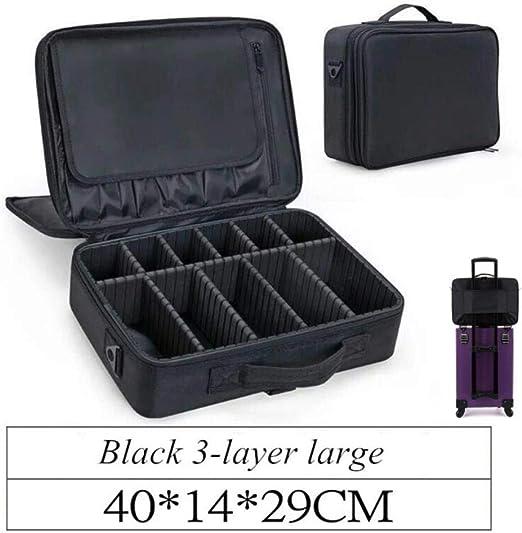 QPKSMALPRTS Cuero de PU Profesional Organizador de Maquillaje vacío Estuche cosmético Bolsa de Almacenamiento de Viaje Maletas, Estilo de 3 Capas Negro: Amazon.es: Hogar