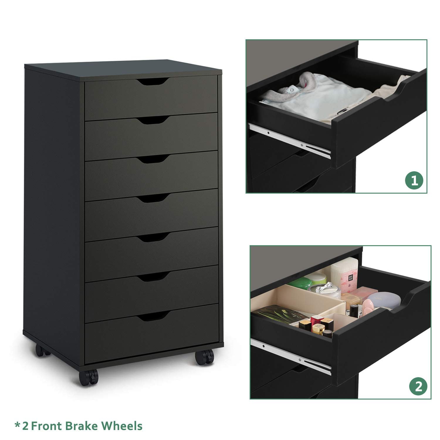 Classic Style-Black DEVAISE 7 Drawers Chest Storage Dresser Cabinet with Removable Wheels