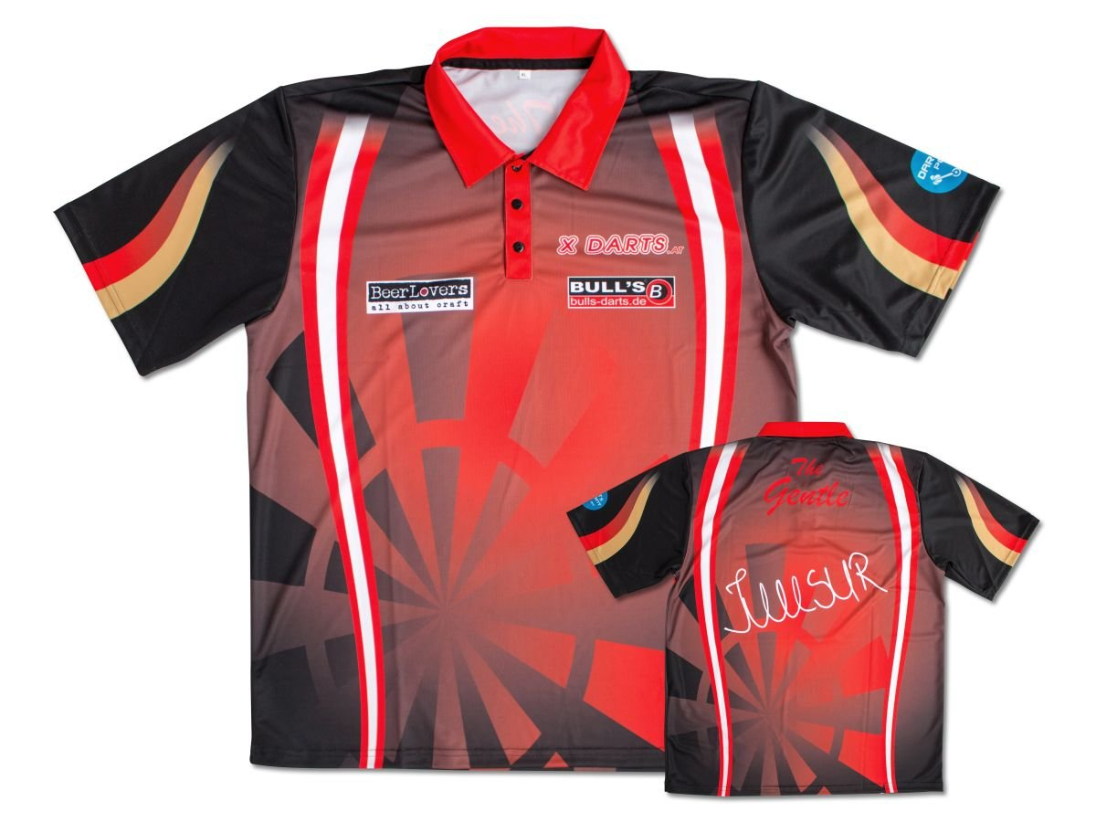 M Sublimation Dartshirt atmungsaktiv BULLS Mensur Suljovic Shirt Replica Dart-Shirt 2019