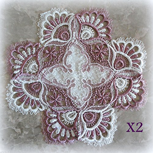 Galleria di Giovanni White Mauve Rose Lace Doilies Set of 2 Doily Lot Pink