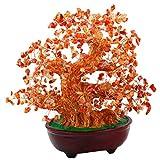 SUNYIK Carnelian Money Tree Bonsai Tumbled Crystal Lucky Fengshui Healing Decoration 8 Inch