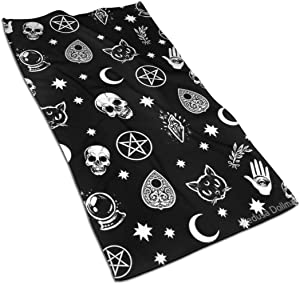 Colorful Skull Cat Moon Gothic Pattern Kitchen Towels ¨C 17.5X27.5in Microfiber Terry Dish Towels for Drying Dishes and Blotting Spills ¨CDish Towels for Your Kitchen Decor