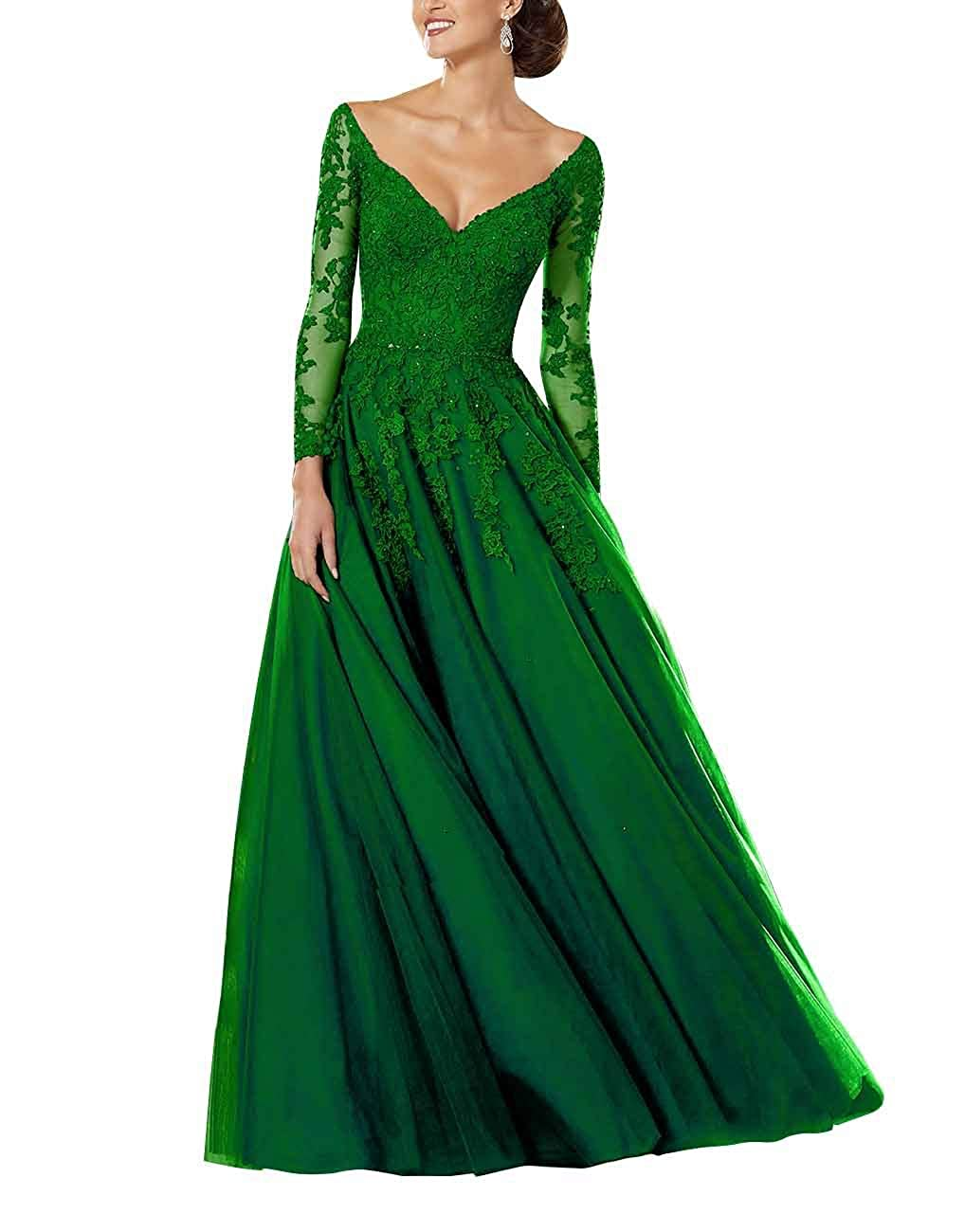 Green Staypretty Aline Prom Gowns for Women Applique Beaded Mother of Bride Dresses Long Sleeve Formal Dress