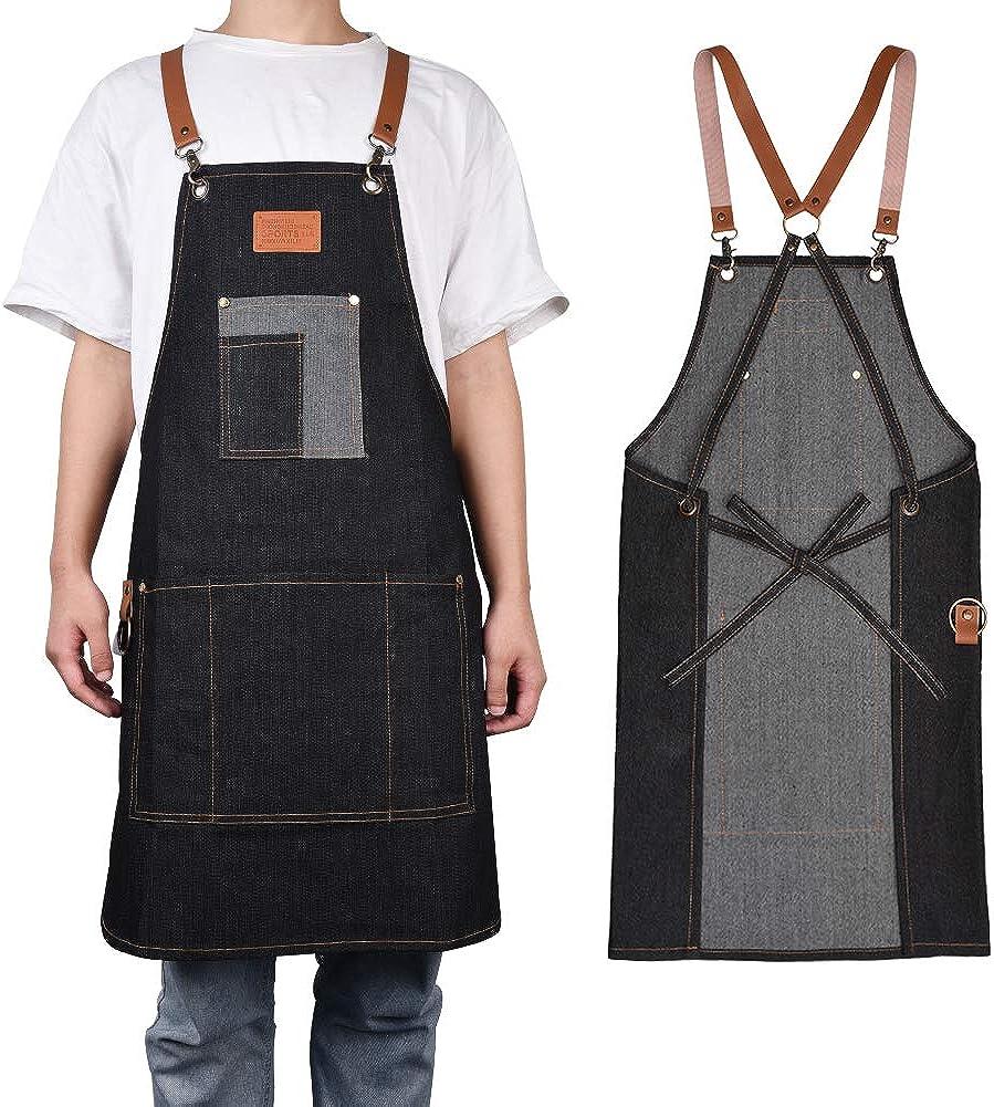Lanthour - Delantal de trabajo para hombre, de lona, duradero, con 5 bolsillos, para carpintería, pintor, barrista, diseño de correa para el hombro, apto para casa, trabajo, camping al aire libre