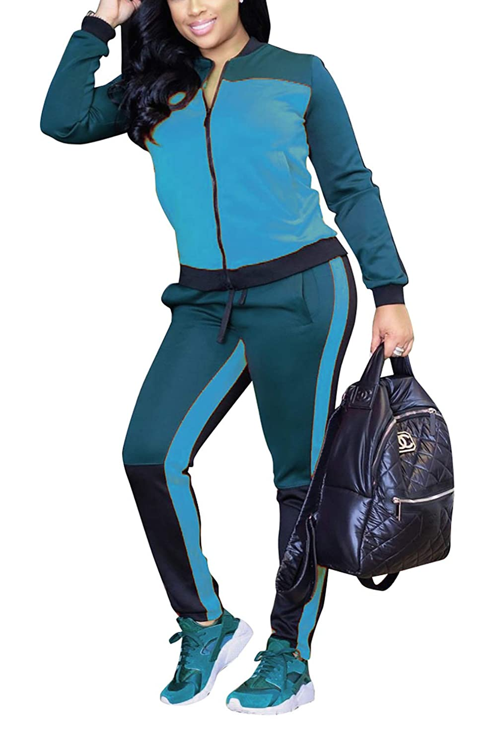 8d786d6478672 DingAng Women 2 Pieces Outfits Long Sleeve Zipper Jacket Long Pants  Sweatsuits Set Tracksuits at Amazon Women s Clothing store