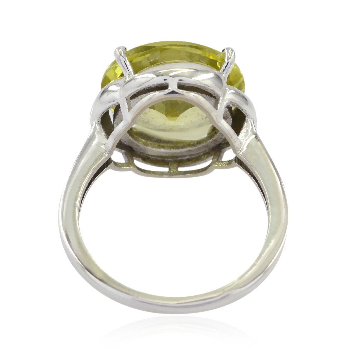 Supply Jewelry Greatest Seller Gift for Mother Rings Genuine Gems Round Faceted Lemon Quartz Ring 925 Silver Yellow Lemon Quartz Genuine Gems Ring