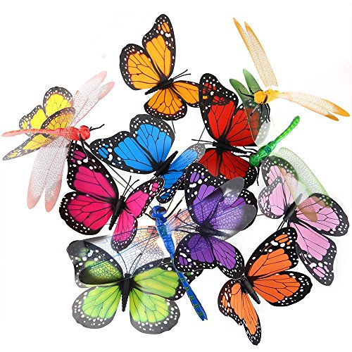 austor 26 pcs dragonfly butterfly stakes garden ornaments patio decor party supplies butterfly decorations for outdoor garden yard - Outdoor Party Supplies