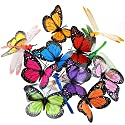 Austor 26 PCS Dragonfly Butterfly Stakes Garden Ornaments & Patio Decor Party Supplies Butterfly Decorations for Outdoor Garden Yard
