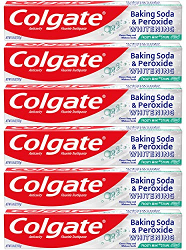 Colgate Baking Soda and Peroxide Whitening Toothpaste, Frosty Mint - 6 ounce (6 Pack)