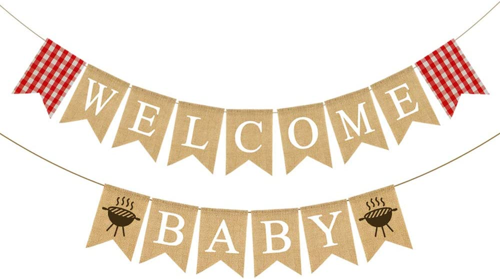 Rainlemon Jute Burlap Welcome Baby Banner with Grill BBQ Theme Baby Shower Party Garland Decoration