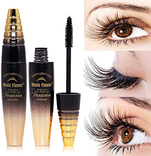 KOBWA 4D Máscara de pestañas de Fibra de Seda, Maquillaje de Ojos ...