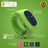 MySecureKid MSK200 Kid's Rubber Calling Watch with GPS Location Tracker Pedometer 2G SIM and 1 Year Plan Compatible with Android/iOS Smartphones for Child Safety and Security (Green)