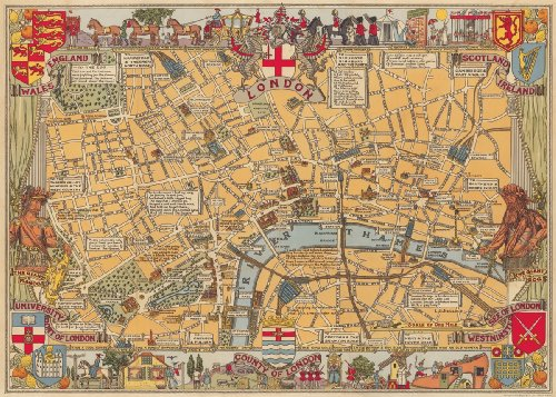 Cavallini & Co. London Map Decorative Decoupage Poster Wrapping Paper Sheet