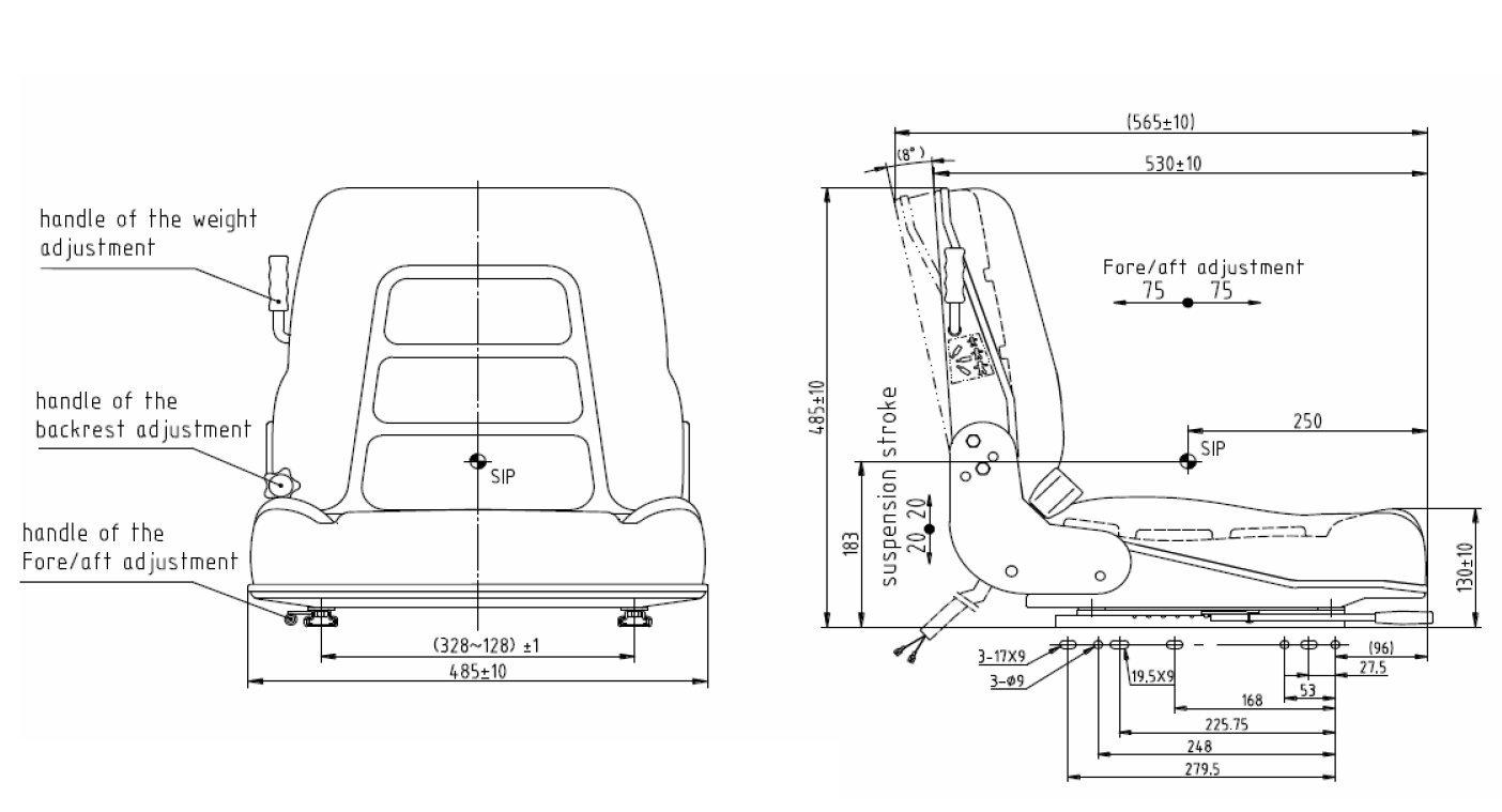 KlaraSeats Staplersitz Baggersitz Fahrersitz GS 12 PVC HD passend Linde Still Clark Jungheinrich