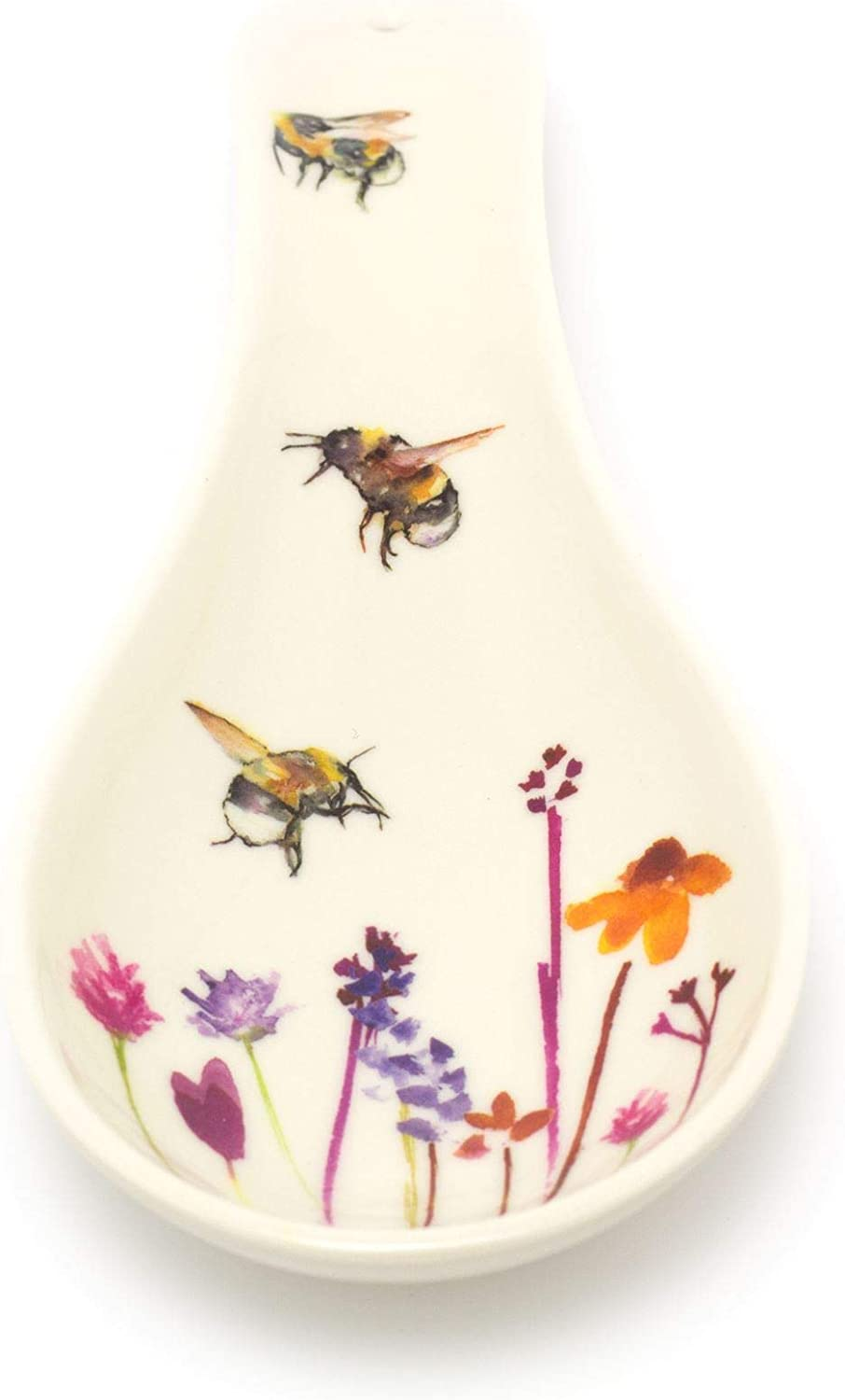 Melamine Floral Kitchen Utensil Rest Carousel Home Gifts 23cm Busy Bee Floral Spoon Holder Bumble Bee Cooking Ladle Spatula Holder