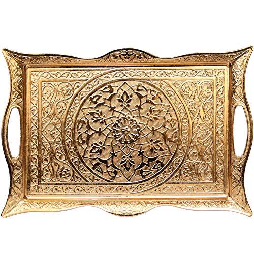 Turkish Ottoman Coffee Tea Beverage Serving Square Tray (Gold)