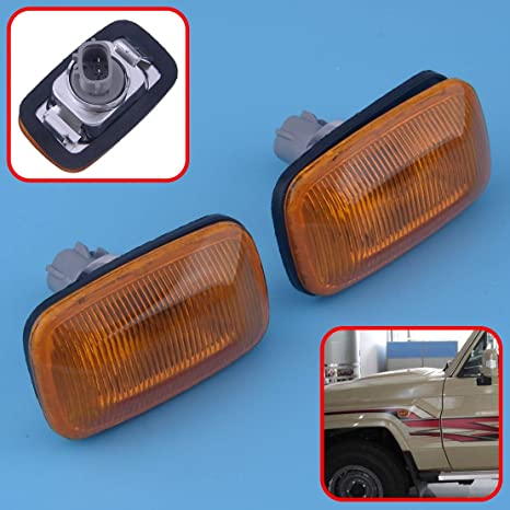 2pcs Fender Turn Signal Side Marker Lamp Light For Toyota Land Cruiser 100 80