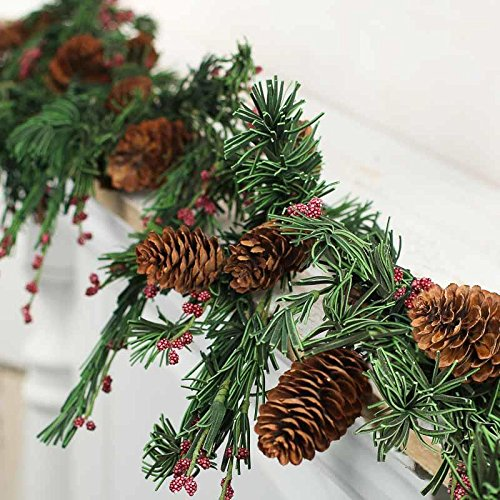 Factory Direct Craft Mixed Artificial Pine and Red Berry Garland with Sizeable Pinecones Throughout for Holiday Decor, Embellishing and Designing (Garland Craft)
