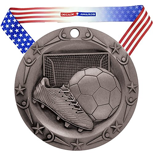 (Decade Awards Soccer World Class Engraved Medal - Silver | WCM Futbol Second Place Award | Includes Stars Stripes American Flag Neck Ribbon | 3 Inch Wide - Customize Now)