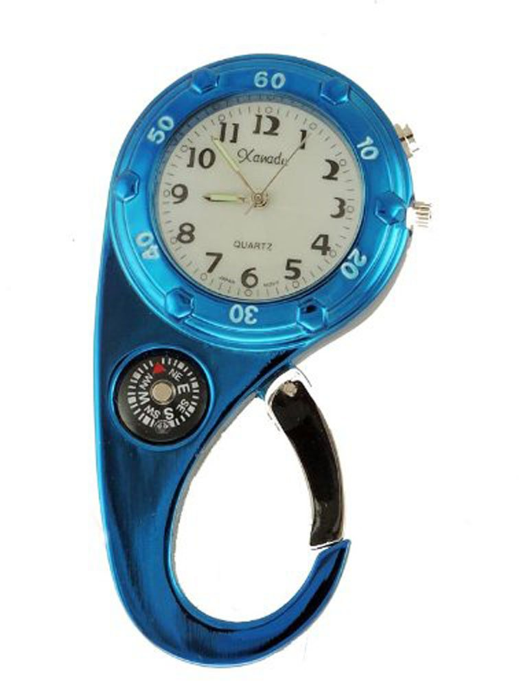 Clip on Watch Bag Pocket Watch W/compass & Back Light- Blue