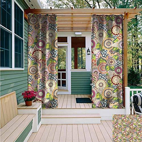 Beihai1Sun Custom Outdoor Curtain,Batik Oriental South East Culture,for Porch&Beach&Patio,W84x72L