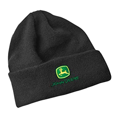 502b63bb0d1b7 Image Unavailable. Image not available for. Color  John Deere Fleece Lined  Black Knit Hat