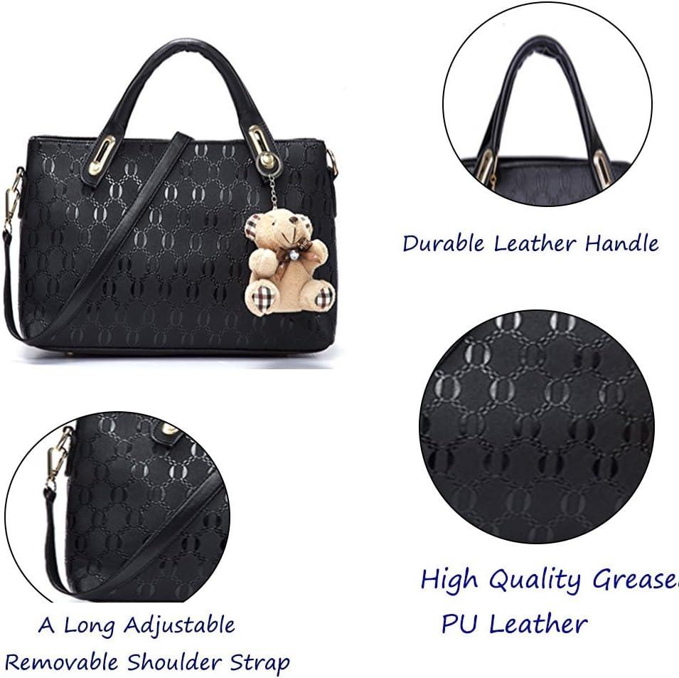 FiveloveTwo Women 4Pcs Bag Set Top Handle Satchel Hobo PU Leather Handbag Set Large Tote + Purse + Shoulder Bag + Card Holder Purple Black