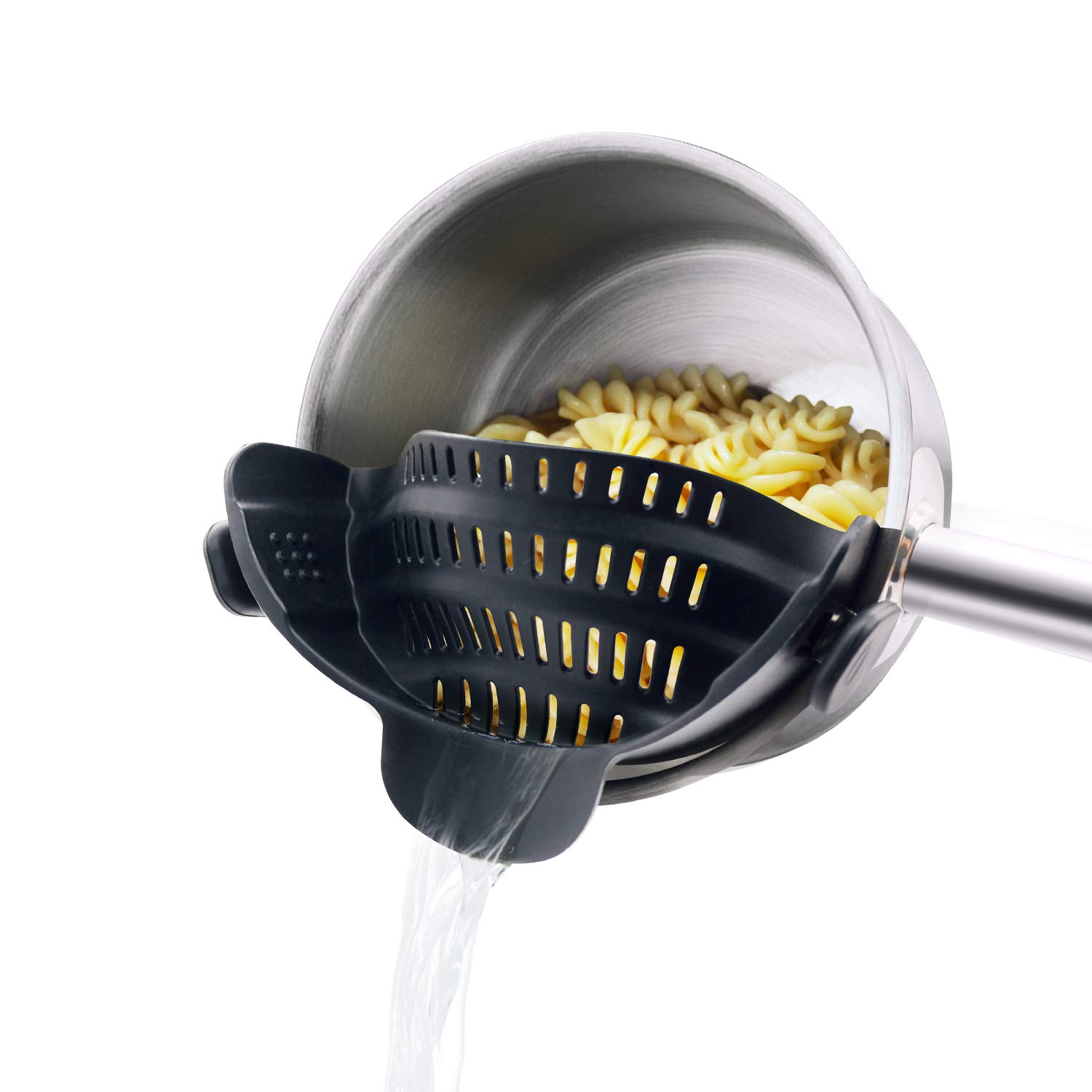 Pasta Strainer,Spaghetti Strainer with Clip On Silicone Colander Made by FDA Approved,Fits Most Pots and Bowls