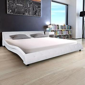 WEILANDEAL Cama con colchon viscoelastico Cuero Artificial 180 cm Blanca Camas con cabecero Acolchado de Espuma: Amazon.es: Hogar