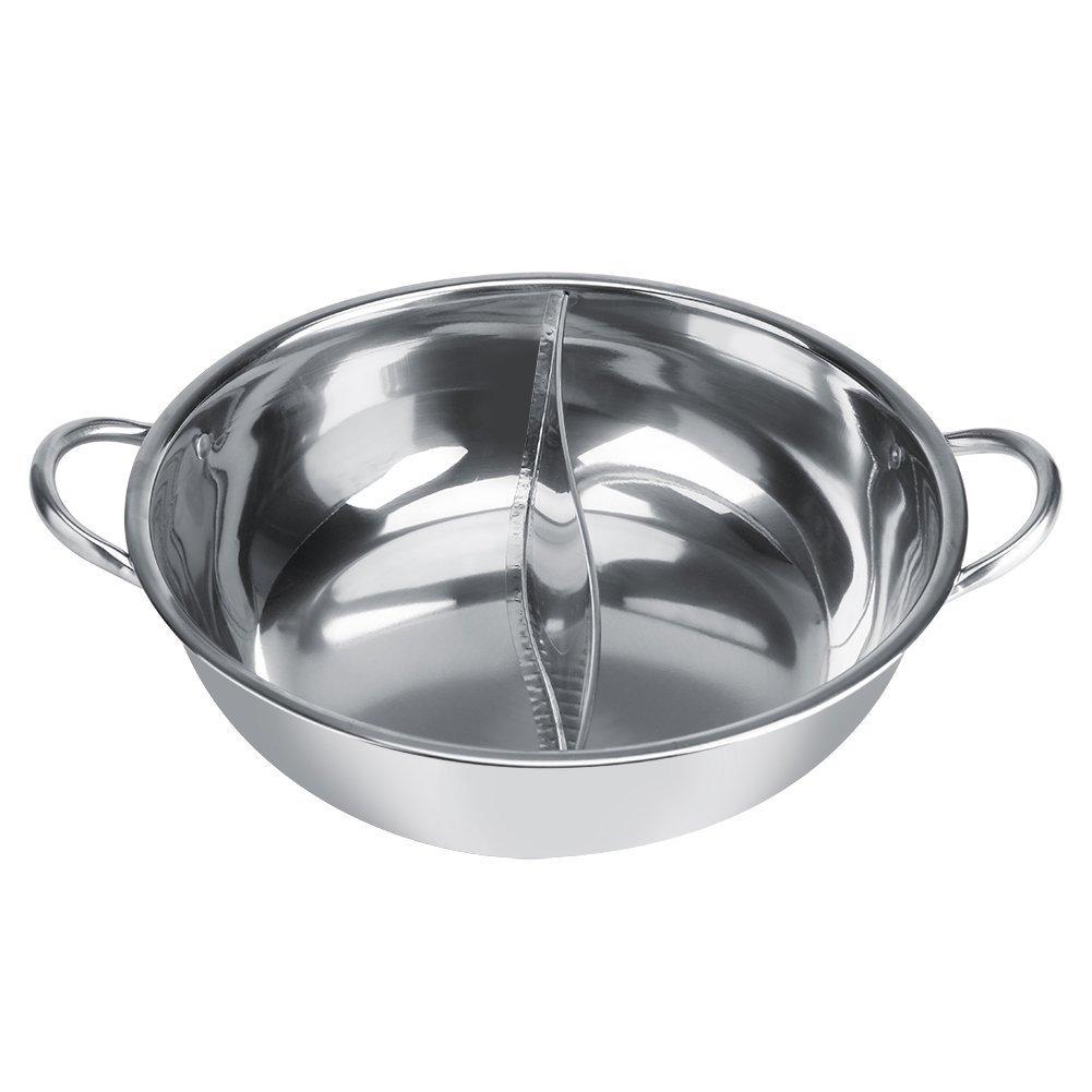 Yosoo Hot Pot Marmite à Fondue 27cm//29cm//31cm Deux Saveur Séparation en Acier Inoxydable Casseroles Chinois de Fondues Antiadhésif Cuisinière à Induction 30cm