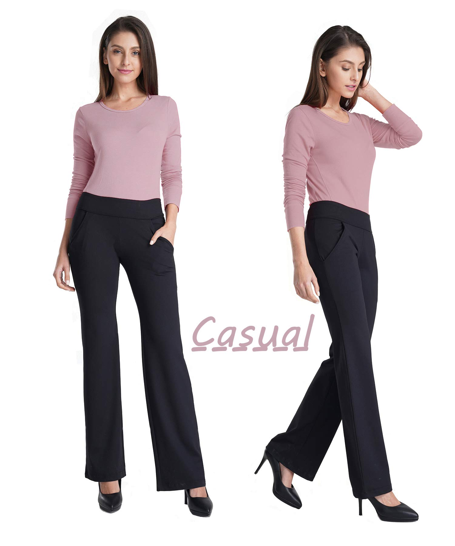 3ee7797c6c Bamans Womens Bootcut Yoga Pants with Pockets Tummy Control Petite to Plus  Size Flared Stretch Workout Work Pants