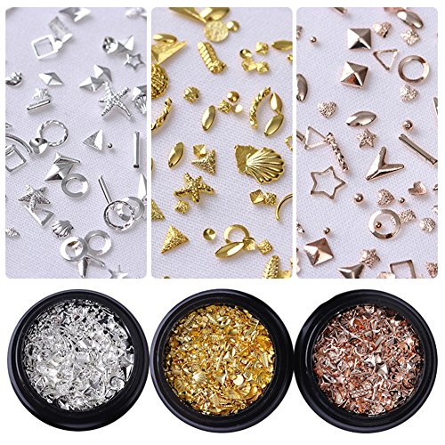 CoulorButtons 3Boxes UR SUGAR 3D Nail Art Decoration Rivets Studs Rose Gold Silver Star Shell Round Square Triangle Hollow Frame Metallic Accessories Mixed Sizes for DIY Manicure