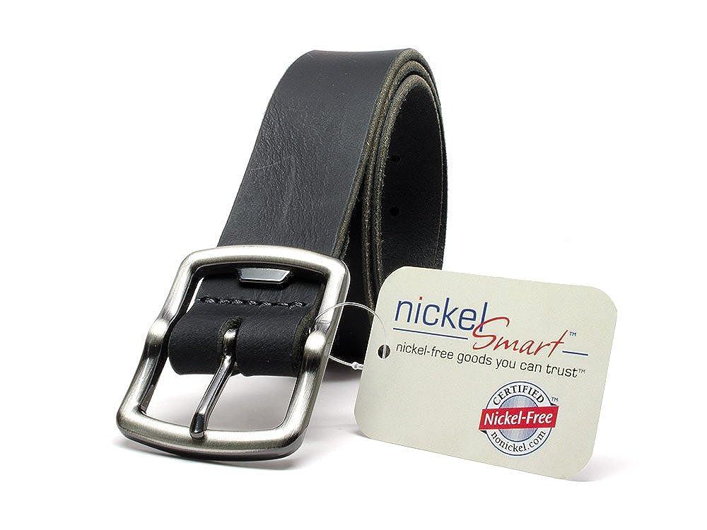 Cold Mountain Black Belt Full Grain Leather Belt with Nickel Free Bottle Opener Buckle Nickel Smart