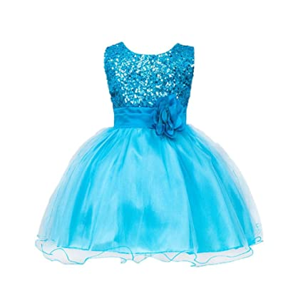 8d52a9913341 Amazon.com: Gotd Infant Toddler Baby Girl Sequins Sleeveless Tutu Princess  Dress Clothes Winter Outfits Christmas Holiday (0-6 Months, Sky Blue):  Musical ...