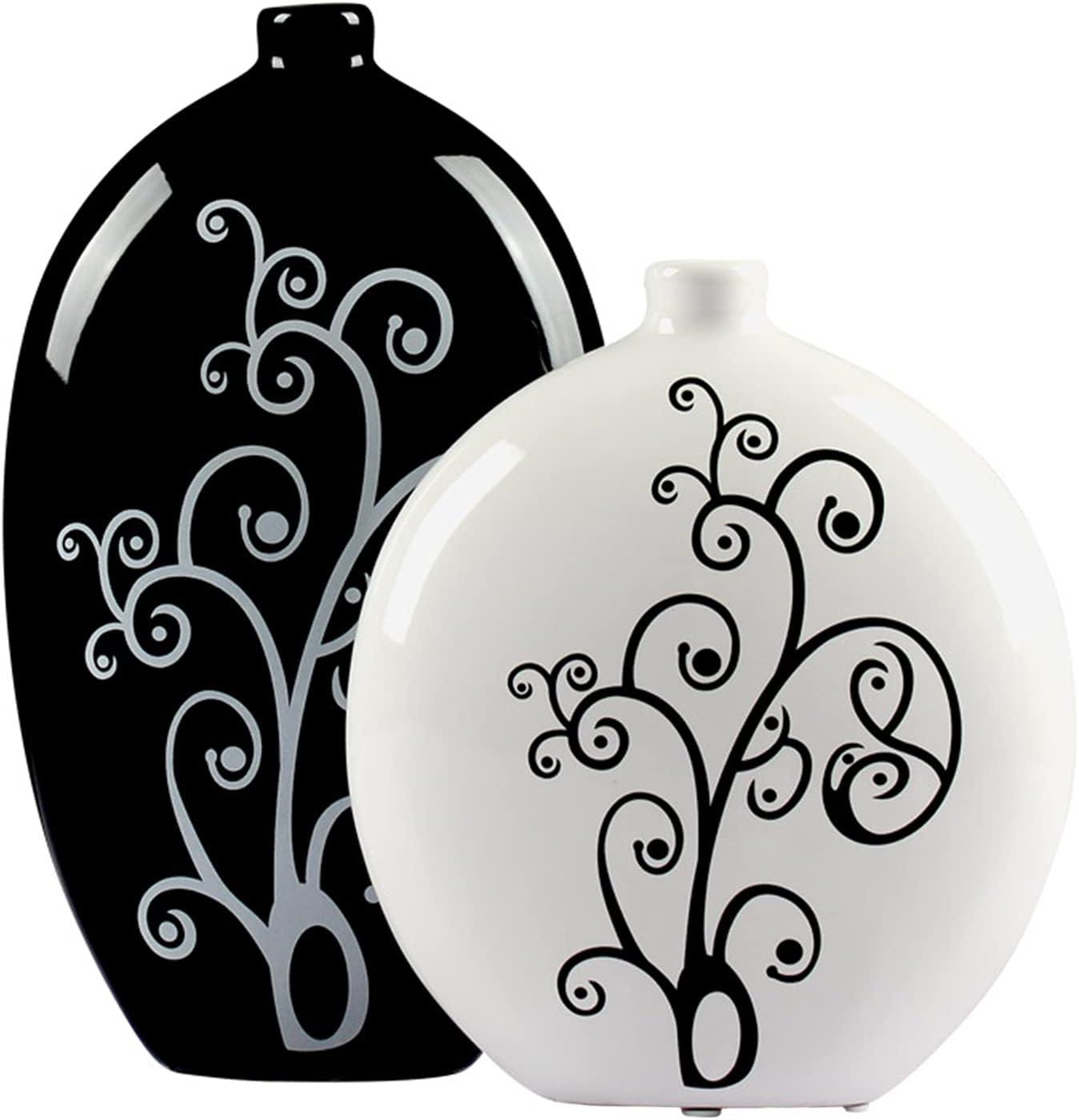 Ceramic Vase Set of 2, Modern Flower Vase, Unique Design Black and White Vases, Decorative Vase for Home Decor, Centerpieces, Living Room, Table Decor, Kitchen