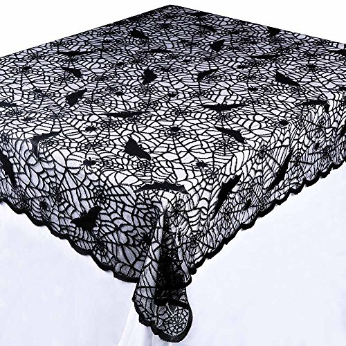 Aparty4u Black Bats Halloween Lace Tablecloth, 60 x 84 inch Rectangular Polyester Table Cover for Halloween Table Decorations -