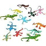 Lot de 12pcs Figurine Petit Lézard en Plastique Coloré Jouet pour Enfant