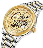 Men's Skeleton Automatic Mechnical Watch Gold Silver Two-Tone Stainless Steel Luminous Bracelet Watch