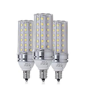E12 LED Bulbs, 12W LED Candelabra Bulb 100 Watt Equivalent, 1200lm, Decorative Candle Base E12 Corn Non-Dimmable LED Chandelier Bulbs, Daylight White 5000K LED Lamp, Pack of 3