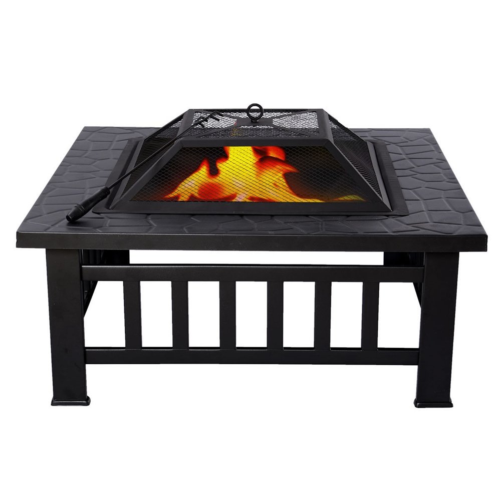 Outdoor 32'' Square Stove Fire Metal Firepit Patio Garden Pit Brazier Metal
