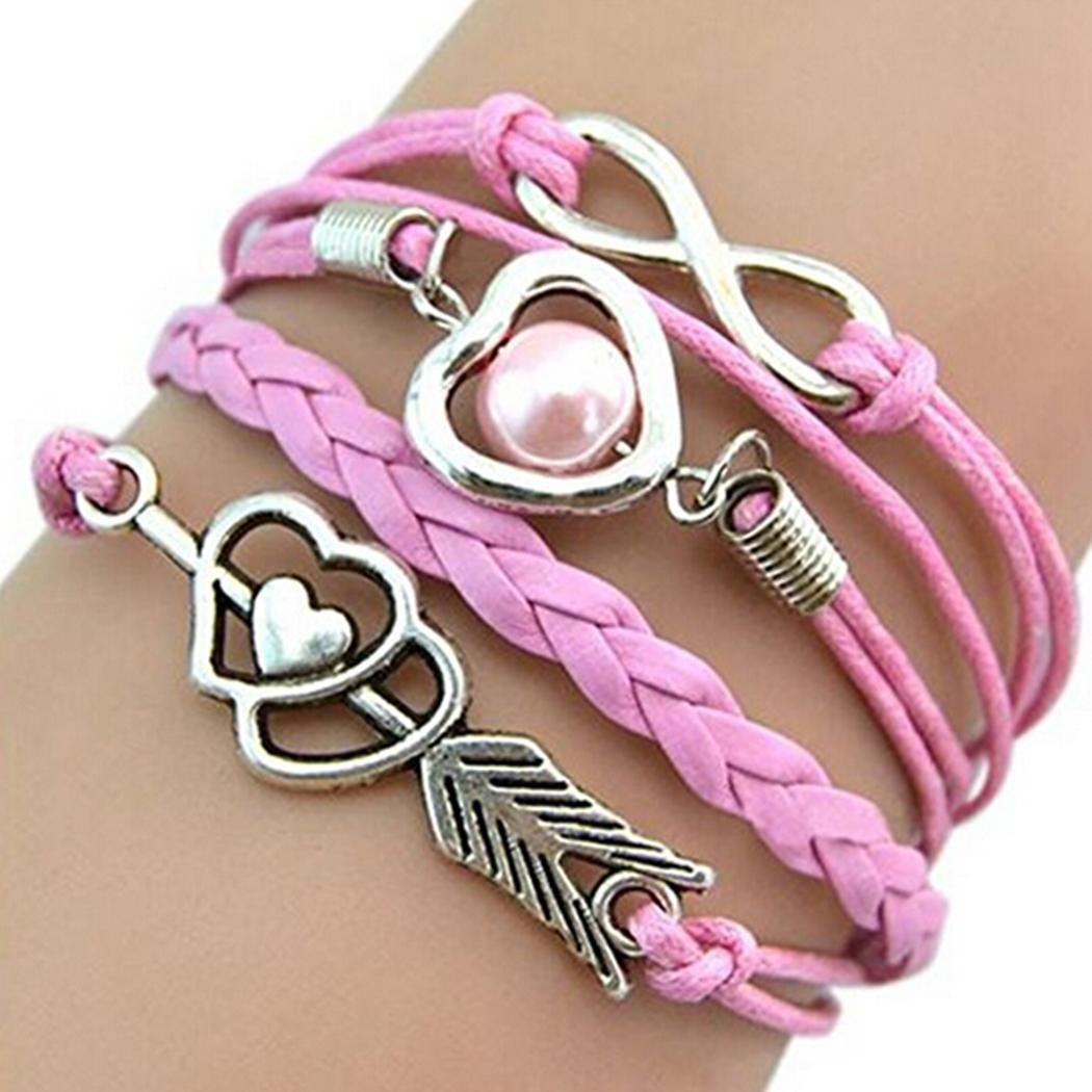 IEnkidu Women Vintage Style Love Infinity Friendship Multilayer Synthetic Leather Braided Bracelet (White)
