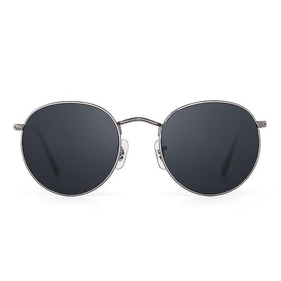 JIM HALO Lunettes de Soleil Rétro Ronde Miroir Classique Lunette Solaire  Steampunk Glasses Verre Réfléchissant pour a4df57fe42c7
