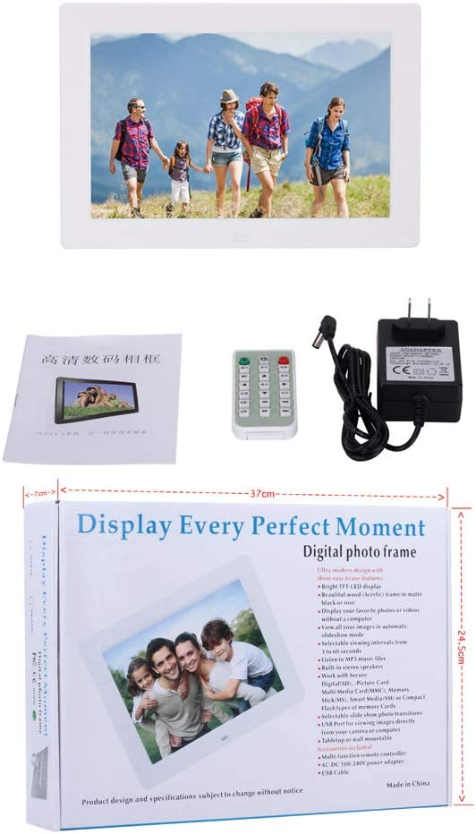 TONGTONG Digital Picture Frame 10.1 inch 1280x800 IPS LCD Panel Screen Smart Electronics Photo Frame with Remote Control