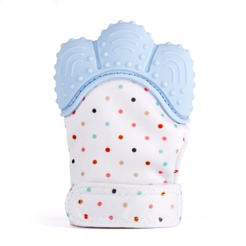 Moufle de Dentition pour Bébé, Apaisante Pain Relief, En Silicone Qualité Alimentaire Sans BPA et Phtalate, Protéger Âge 3-12 Mois La main de Bébé - Quarlz Rose(1 PC) WoNiu
