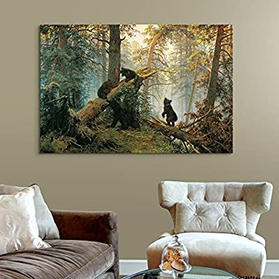 Fascinating Piece, Crafted to Perfection, Black Bears in Forest Painting Wall Decor
