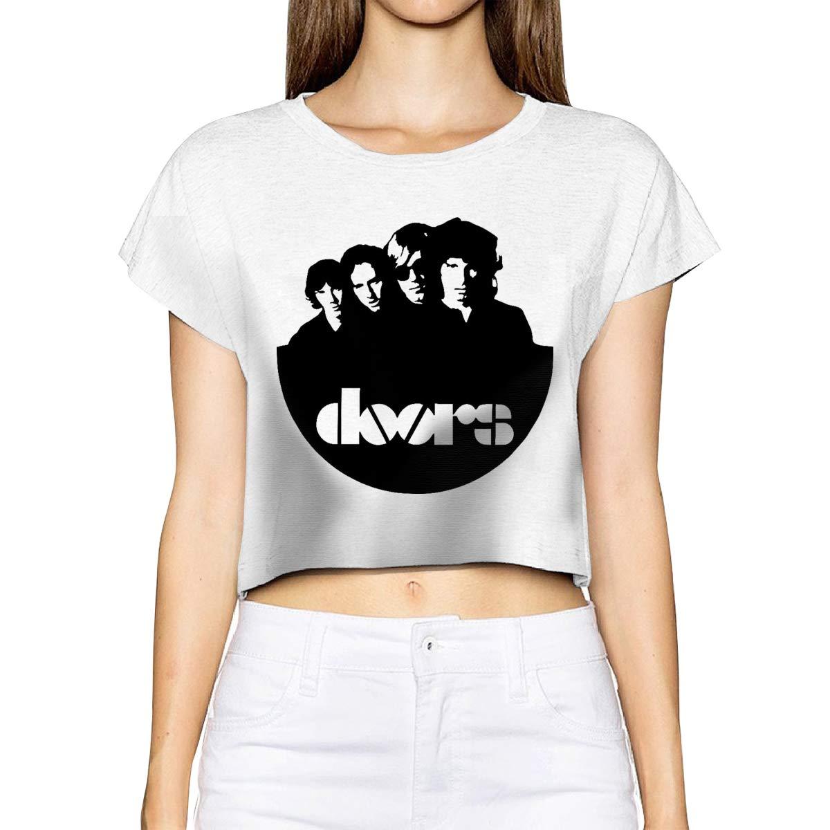 Smooffly Womens Crop Top The Doors Short Sleeves Shirts