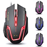 Magece G1 Professional Ergonomic Opticcal USB Wired Computer Gaming Mouse,4 DPI Adjustment Levels,6 Button,Breathing Light for PC MAC in Black