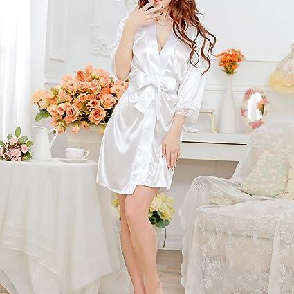 JAGENIE Women s Short Kimono Style V-Neck Bathrobe Plain Dressing Gown  Bridal Party Robe White  Amazon.ca  Home   Kitchen e401497e0761
